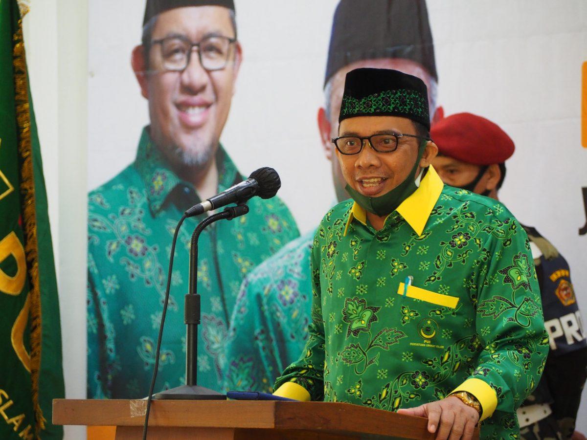 Ketua Umum DPD PUI Kota Bogor, Nur Ihsan Zaidi memberi sambutan disela kegiatan Pembekalan dan Pelantikan DPD PUI Kota Bogor Provinsi Jawa Barat Periode 2020-2025. (foto: humas PUI)
